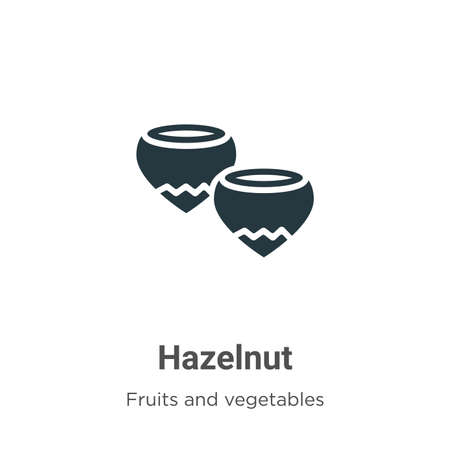 Hazelnut glyph icon vector on white background. Flat vector hazelnut icon symbol sign from modern fruits and vegetables collection for mobile concept and web apps design.