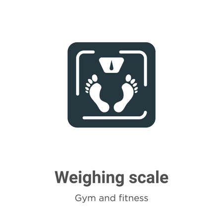 Weighing scale glyph icon vector on white background. Flat vector weighing scale icon symbol sign from modern gym and fitness collection for mobile concept and web apps design.