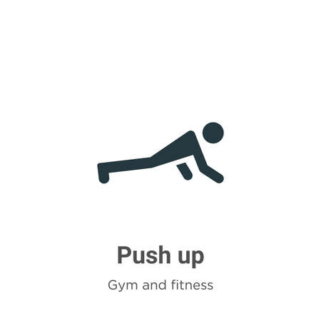 Push up glyph icon vector on white background. Flat vector push up icon symbol sign from modern gym and fitness collection for mobile concept and web apps design.