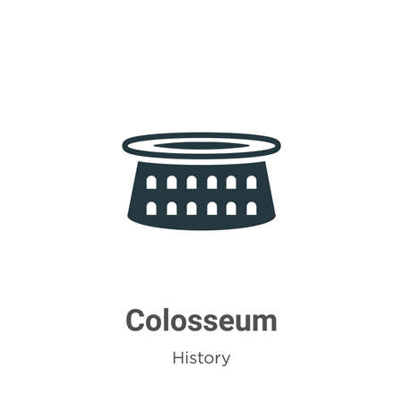 Colosseum glyph icon vector on white background. Flat vector colosseum icon symbol sign from modern history collection for mobile concept and web apps design.