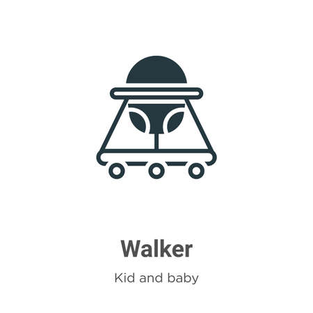 Walker glyph icon vector on white background. Flat vector walker icon symbol sign from modern kid and baby collection for mobile concept and web apps design.