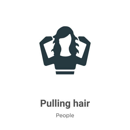 Pulling hair glyph icon vector on white background. Flat vector pulling hair icon symbol sign from modern people collection for mobile concept and web apps design.