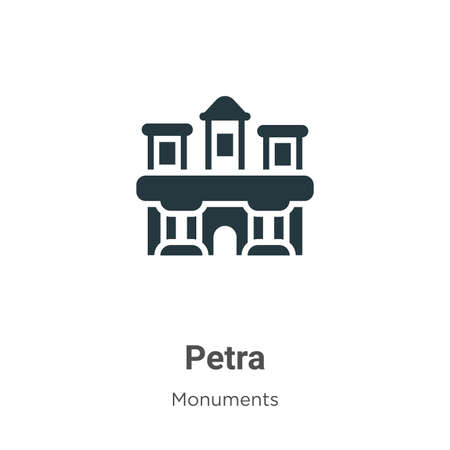 Petra glyph icon vector on white background. Flat vector petra icon symbol sign from modern monuments collection for mobile concept and web apps design. Ilustração