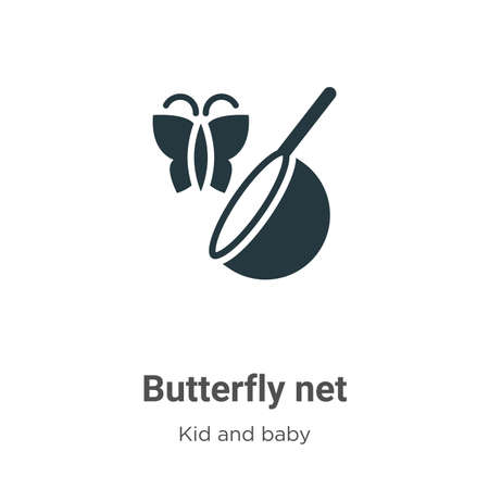 Butterfly net glyph icon vector on white background. Flat vector butterfly net icon symbol sign from modern kids and baby collection for mobile concept and web apps design. Illustration