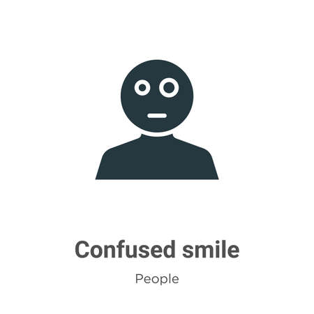 Confused smile glyph icon vector on white background. Flat vector confused smile icon symbol sign from modern people collection for mobile concept and web apps design.