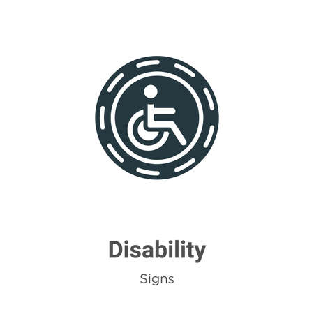 Disability glyph icon vector on white background. Flat vector disability icon symbol sign from modern signs collection for mobile concept and web apps design.
