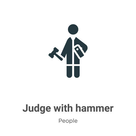 Judge with hammer glyph icon vector on white background. Flat vector judge with hammer icon symbol sign from modern people collection for mobile concept and web apps design. Illustration