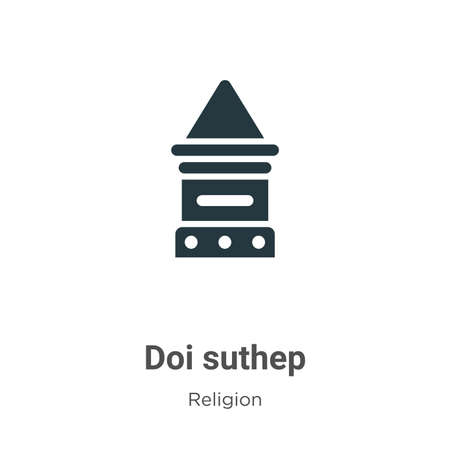 Doi suthep glyph icon vector on white background. Flat vector doi suthep icon symbol sign from modern religion collection for mobile concept and web apps design.