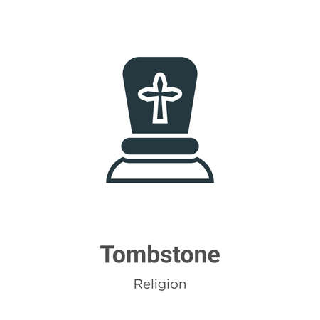 Tombstone glyph icon vector on white background. Flat vector tombstone icon symbol sign from modern religion collection for mobile concept and web apps design.  イラスト・ベクター素材