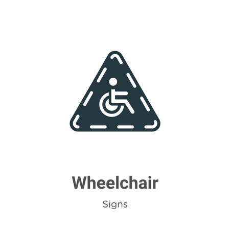 Wheelchair glyph icon vector on white background. Flat vector wheelchair icon symbol sign from modern signs collection for mobile concept and web apps design.