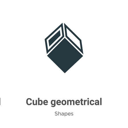 Cube geometrical glyph icon vector on white background. Flat vector cube geometrical icon symbol sign from modern shapes collection for mobile concept and web apps design.