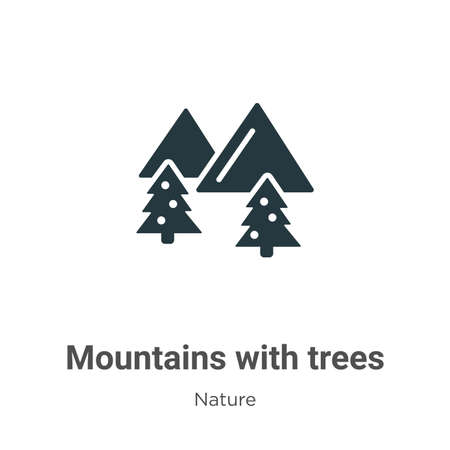 Mountains with trees glyph icon vector on white background. Flat vector mountains with trees icon symbol sign from modern nature collection for mobile concept and web apps design.