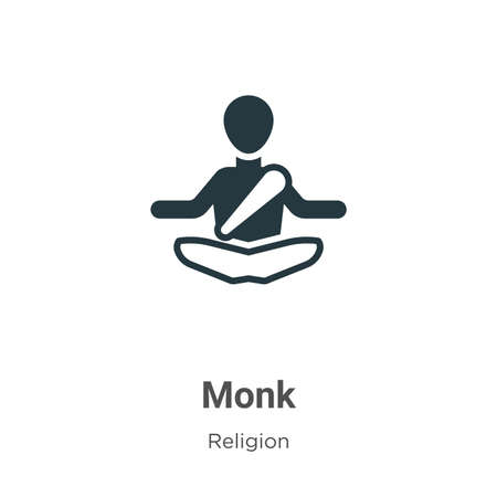 Monk glyph icon vector on white background. Flat vector monk icon symbol sign from modern religion collection for mobile concept and web apps design. Illusztráció