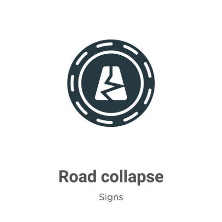 Road collapse glyph icon vector on white background. Flat vector road collapse icon symbol sign from modern signs collection for mobile concept and web apps design.