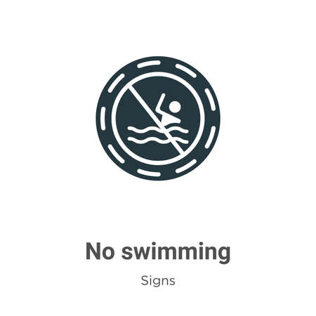No swimming glyph icon vector on white background. Flat vector no swimming icon symbol sign from modern signs collection for mobile concept and web apps design. Illusztráció