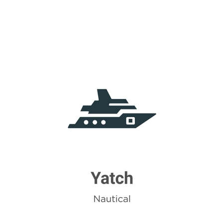 Yatch glyph icon vector on white background. Flat vector yatch icon symbol sign from modern nautical collection for mobile concept and web apps design.