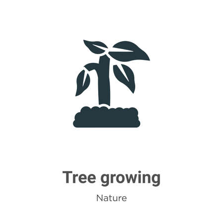 Tree growing glyph icon vector on white background. Flat vector tree growing icon symbol sign from modern nature collection for mobile concept and web apps design.