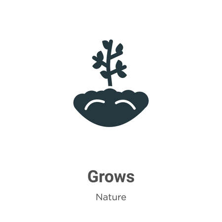 Grows glyph icon vector on white background. Flat vector grows icon symbol sign from modern nature collection for mobile concept and web apps design.