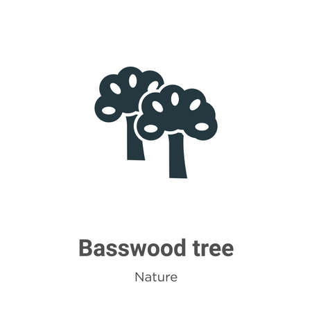 Basswood tree glyph icon vector on white background. Flat vector basswood tree icon symbol sign from modern nature collection for mobile concept and web apps design. Ilustrace
