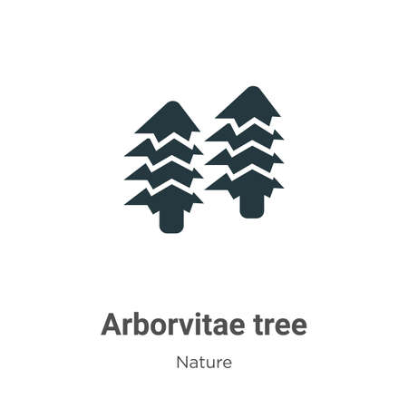 Arborvitae tree glyph icon vector on white background. Flat vector arborvitae tree icon symbol sign from modern nature collection for mobile concept and web apps design.