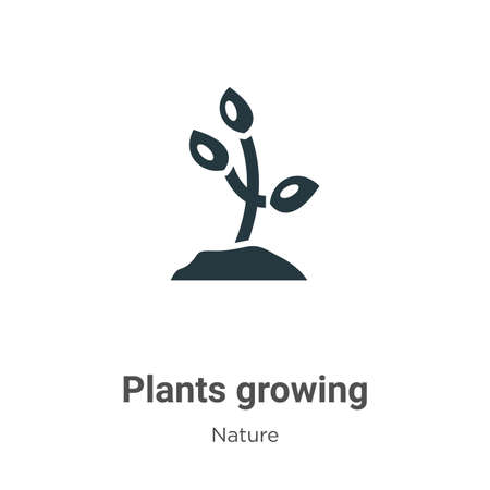 Plants growing glyph icon vector on white background. Flat vector plants growing icon symbol sign from modern nature collection for mobile concept and web apps design.