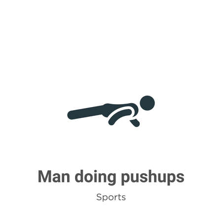 Man doing pushups glyph icon vector on white background. Flat vector man doing pushups icon symbol sign from modern sports collection for mobile concept and web apps design.