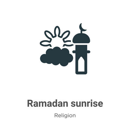 Ramadan sunrise glyph icon vector on white background. Flat vector ramadan sunrise icon symbol sign from modern religion collection for mobile concept and web apps design. Ilustrace