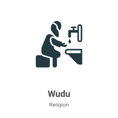 Wudu glyph icon vector on white background. Flat vector wudu icon symbol sign from modern religion collection for mobile concept and web apps design.