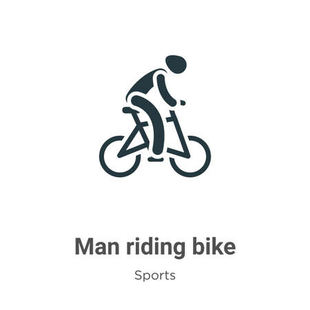 Man riding bike glyph icon vector on white background. Flat vector man riding bike icon symbol sign from modern sports collection for mobile concept and web apps design.