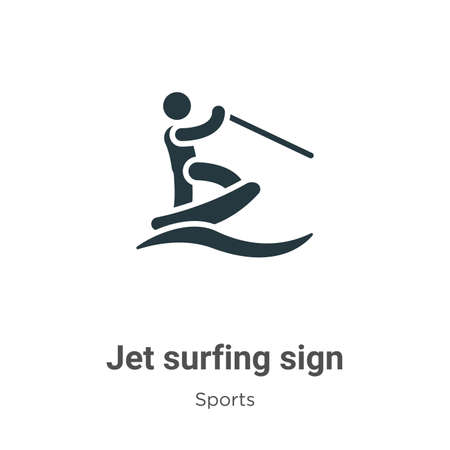 Jet surfing sign glyph icon vector on white background. Flat vector jet surfing sign icon symbol sign from modern sports collection for mobile concept and web apps design.