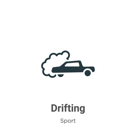 Drifting glyph icon vector on white background. Flat vector drifting icon symbol sign from modern sport collection for mobile concept and web apps design.