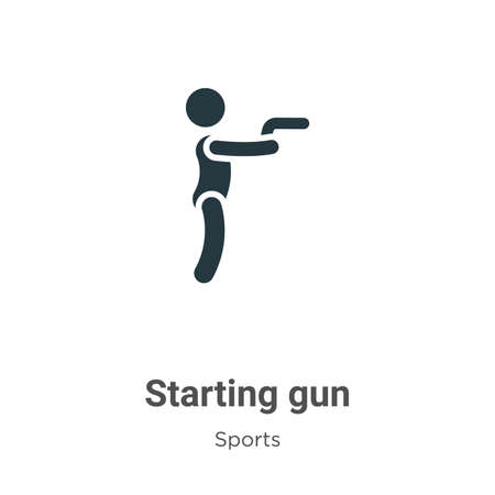 Starting gun glyph icon vector on white background. Flat vector starting gun icon symbol sign from modern sports and competition collection for mobile concept and web apps design.