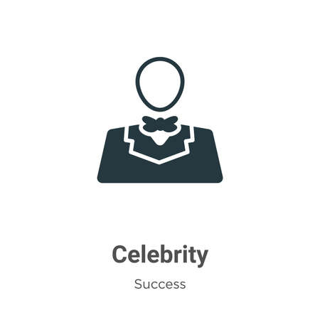 Celebrity glyph icon vector on white background. Flat vector celebrity icon symbol sign from modern success collection for mobile concept and web apps design. 矢量图像