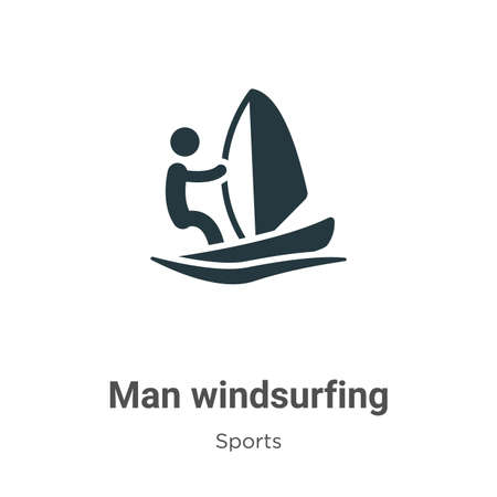 Man windsurfing glyph icon vector on white background. Flat vector man windsurfing icon symbol sign from modern sports collection for mobile concept and web apps design.