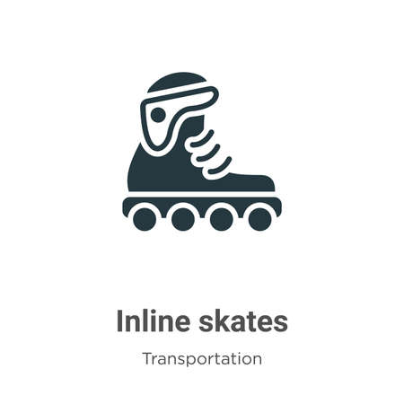 Inline skates glyph icon vector on white background. Flat vector inline skates icon symbol sign from modern transport aytan collection for mobile concept and web apps design.