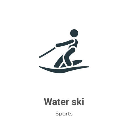 Water ski glyph icon vector on white background. Flat vector water ski icon symbol sign from modern sports collection for mobile concept and web apps design.