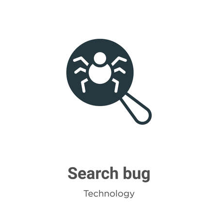 Search bug glyph icon vector on white background. Flat vector search bug icon symbol sign from modern technology collection for mobile concept and web apps design.