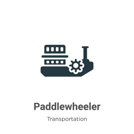 Paddlewheeler glyph icon vector on white background. Flat vector paddlewheeler icon symbol sign from modern transportation collection for mobile concept and web apps design.