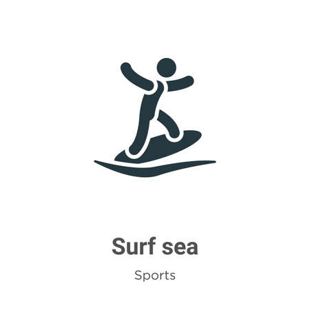 Surf sea glyph icon vector on white background. Flat vector surf sea icon symbol sign from modern sports collection for mobile concept and web apps design.