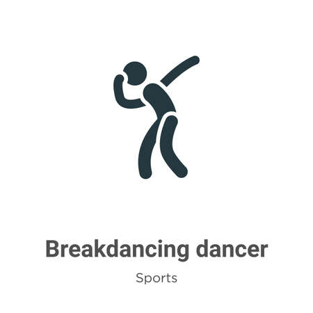 Breakdancing dancer glyph icon vector on white background. Flat vector breakdancing dancer icon symbol sign from modern sports collection for mobile concept and web apps design.