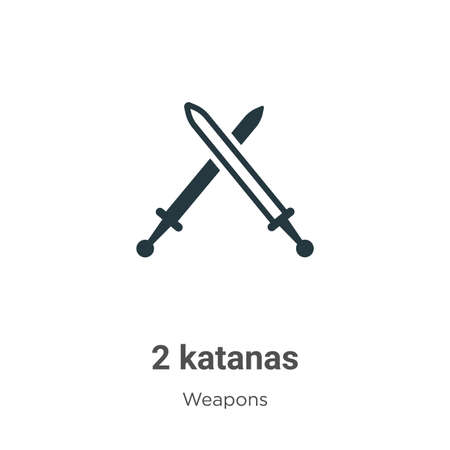 2 katanas glyph icon vector on white background. Flat vector 2 katanas icon symbol sign from modern weapons collection for mobile concept and web apps design. Illustration