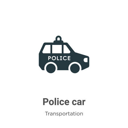 Police car glyph icon vector on white background. Flat vector police car icon symbol sign from modern transport aytan collection for mobile concept and web apps design. 向量圖像