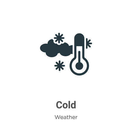 Cold glyph icon vector on white background. Flat vector cold icon symbol sign from modern weather collection for mobile concept and web apps design.