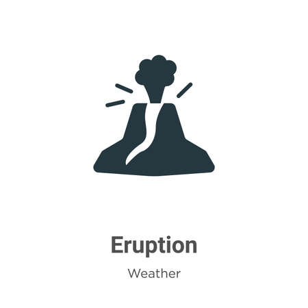 Eruption glyph icon vector on white background. Flat vector eruption icon symbol sign from modern weather collection for mobile concept and web apps design.