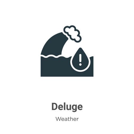 Deluge glyph icon vector on white background. Flat vector deluge icon symbol sign from modern weather collection for mobile concept and web apps design.