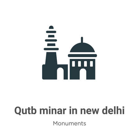 Qutb minar in new delhi glyph icon vector on white background. Flat vector qutb minar in new delhi icon symbol sign from modern monuments collection for mobile concept and web apps design.