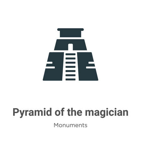 Pyramid of the magician glyph icon vector on white background. Flat vector pyramid of the magician icon symbol sign from modern monuments collection for mobile concept and web apps design.