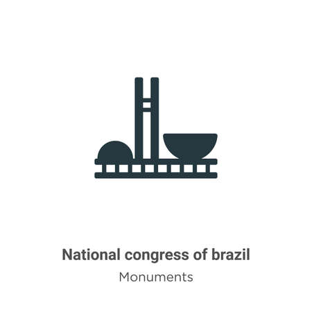 National congress of brazil glyph icon vector on white background. Flat vector national congress of brazil icon symbol sign from modern monuments collection for mobile concept and web apps design.