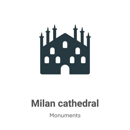 Milan cathedral glyph icon vector on white background. Flat vector milan cathedral icon symbol sign from modern monuments collection for mobile concept and web apps design.