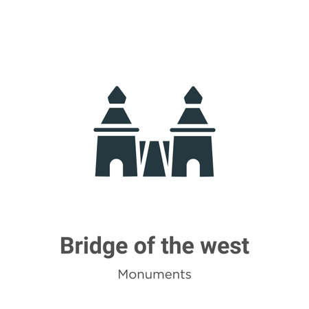 Bridge of the west glyph icon vector on white background. Flat vector bridge of the west icon symbol sign from modern monuments collection for mobile concept and web apps design.